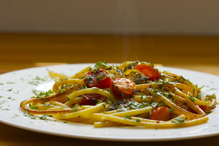 Oregano bucatini with tomatoes