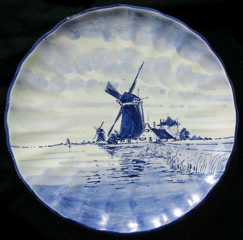A Delft Blue Windmill Plate