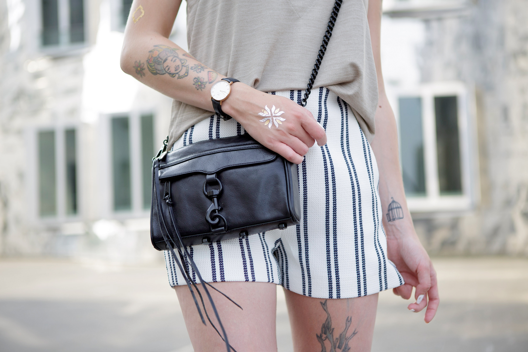 stiped shorts nude summer outfit styling düsseldorf blogger german girl rebecca minkoff shopbop ricarda schernus cats & dogs 2