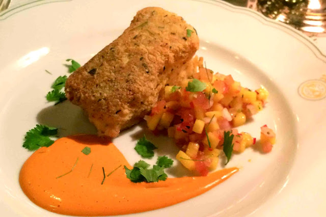 1st Course served: Breaded Cod served with Mango Salsa and Red Pepper Mayonnaise and Mixed Leaves