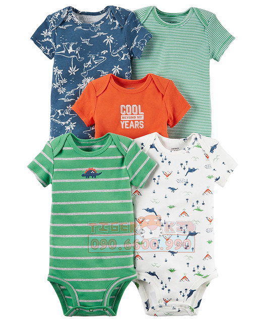 Quần áo trẻ em, bodysuit, Carter, đầm bé gái cao cấp, quần áo trẻ em nhập khẩu, Set 5 bodysuit Carter's nhập Mỹ chính hãng