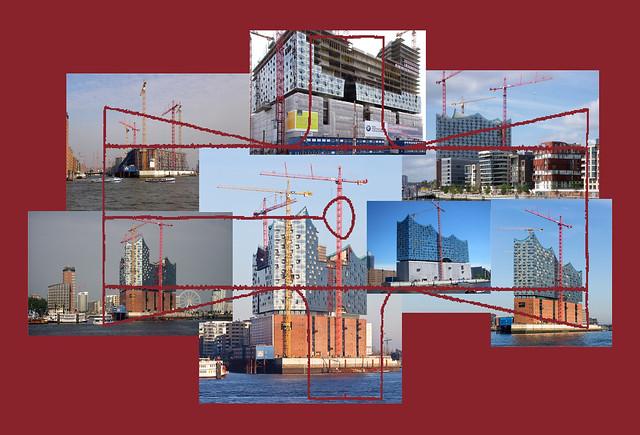 Kimono Building Site Baustelle Elbphilharmonie 2008 2010 (Richtfest) 2011 2012 2013 2014 2015 - wer fährt schon ab auf dieses Finanzdebakel Planungsdebakel