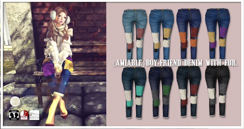 {amiable}Roll-up Boy Friend Denim with Fur@N°21(50%OFF SALE). - SecondLifeHub.com