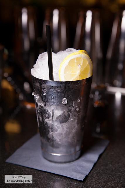 Dealer's Choice cocktail -  Bourbon, Pernod Ricard Absinthe, St. Germain elderflower liqueur, lemon, blackberry, Amer