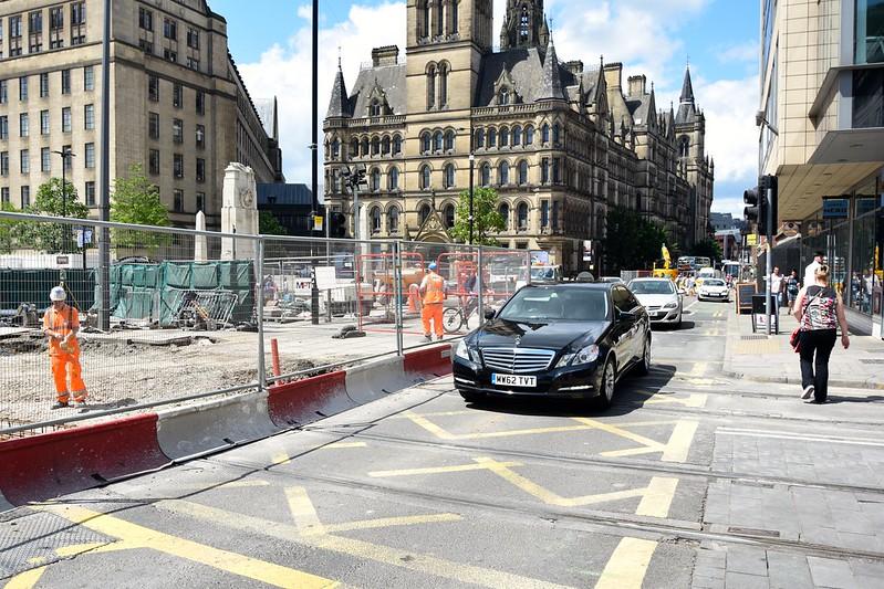 St.Peters Square rebuilding. End of week one. Manchester Metrolink.