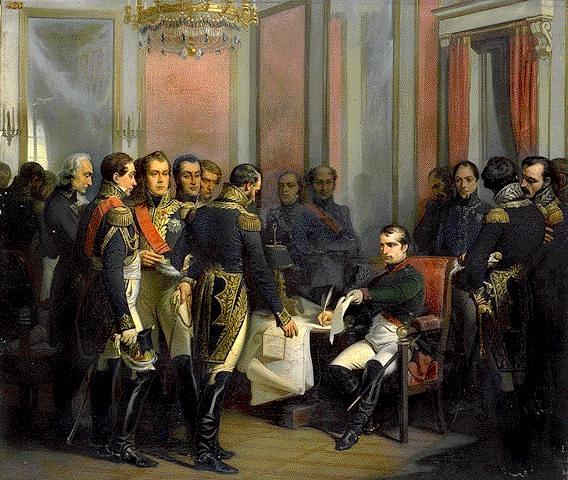 Napoléon signe son abdication à Fontainebleau, by François Bouchot