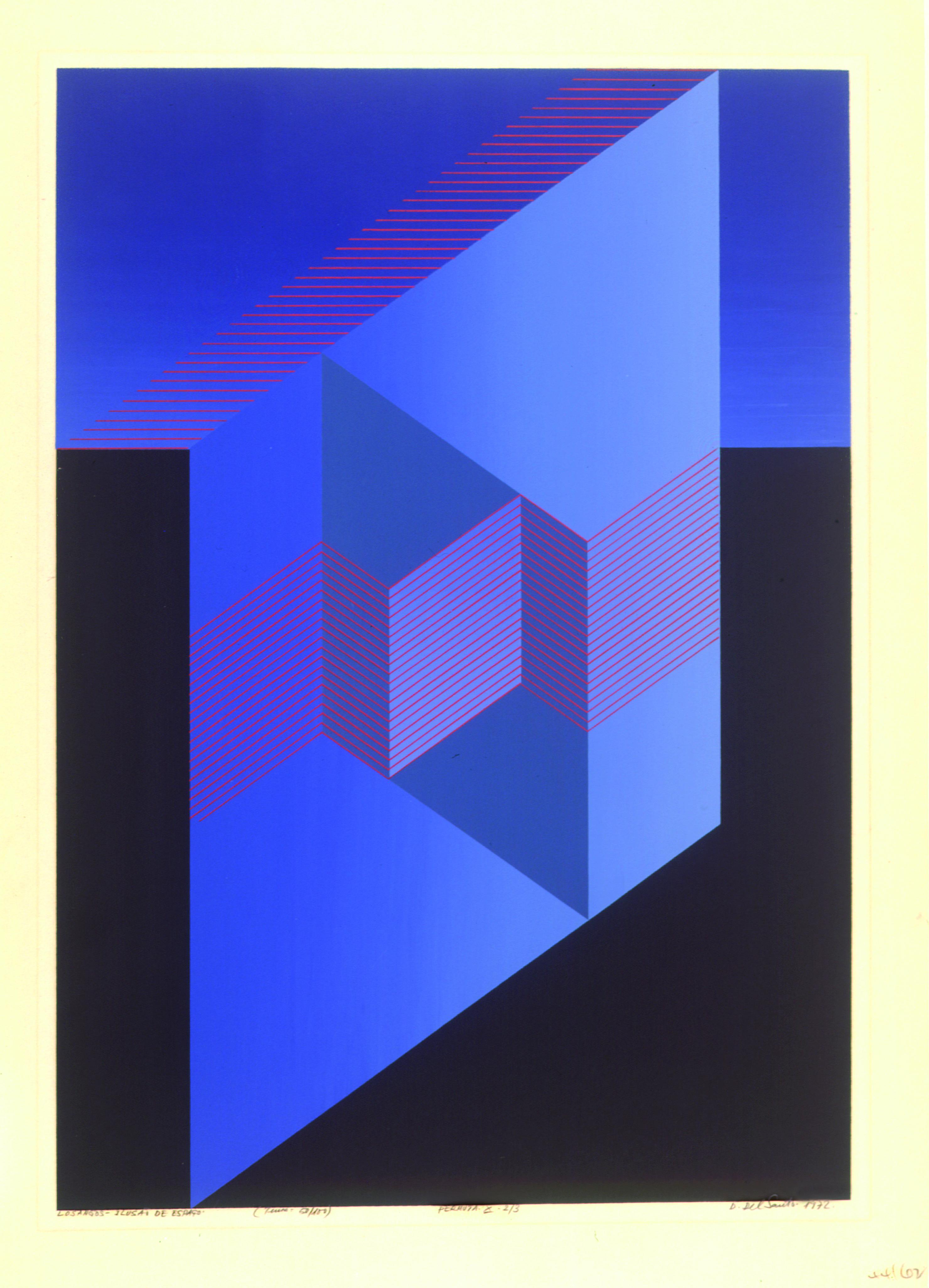 Losangos- Ilusão de Espaço Autor: Dionísio del Santo Ano: 1972 Técnica: Serigrafia (50/100) Dimensão: 60 cm x 42 cm