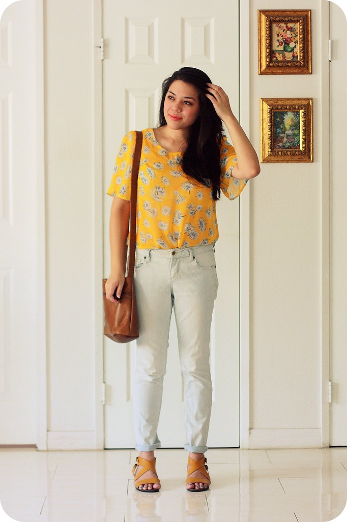 Sweets and Hearts style: outfit featuring Modcloth floral blouse, striped jeans, thrifted vintage brown leather bag, Seychelles yellow Mind Over Matter sandals