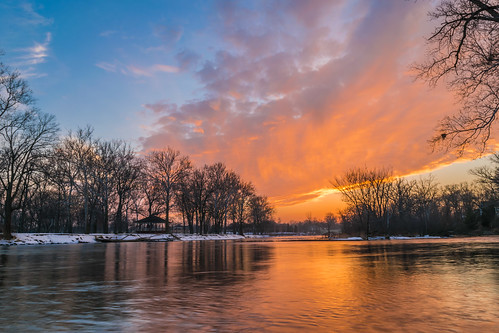 elkhart indiana islandpark nikon nikond5300 stjosephriver blue clouds evening geotagged gold longexposure orange park reflection reflections river silhouette sky snow sunset tree trees water winter unitedstates