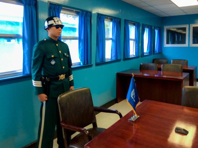 JSA soldier standing guard.