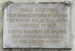Photo of Pablo Picasso and Honoré de Balzac stone plaque