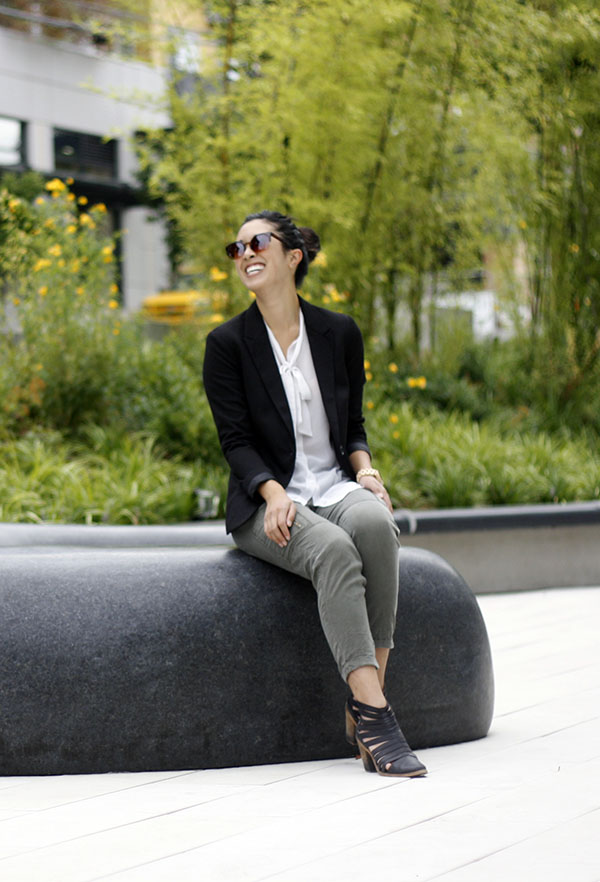 blazer and cargo pants styling