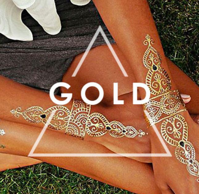 Gold and Silver Temporary Tattoos for festival style