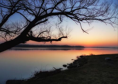 sunset dusk river grandriver silhouette