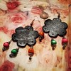 #elephantearrings, #twopeasinapod123shandmadedesigns, #afrocentric,#redblackandgreencolors, #blacketsyshopowner, #ovalshaped,#oneofakindhandmade,  all items on Etsy shop #twopeasinapod123shandmadedesigns  are made by me. the earrings are worn by my daught