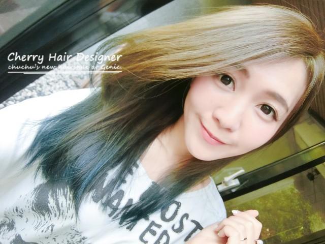 夏日髮色參考:亞麻綠x深藍雙色漸層–Genic Salon