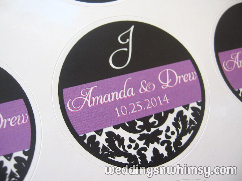 purple black damask with monogram initial custom wedding favor labelsstickers