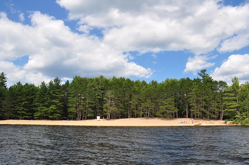 View of Achray beach from the lake