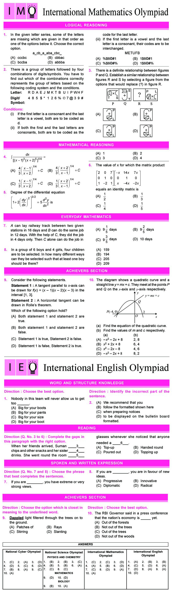 NCO, NSO, IMO & IEO Class 12 Sample Papers