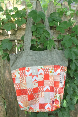 Coral Linen Patchwork Caravan Bag
