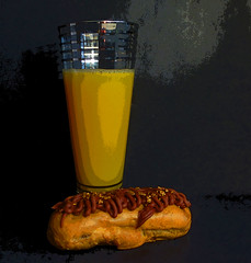 Orange Juice and eclair