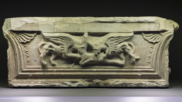 Pilaster capital with relief of griffins attacking a deer, from the west porch of the Propylon of Ptolemy II, Samothrace