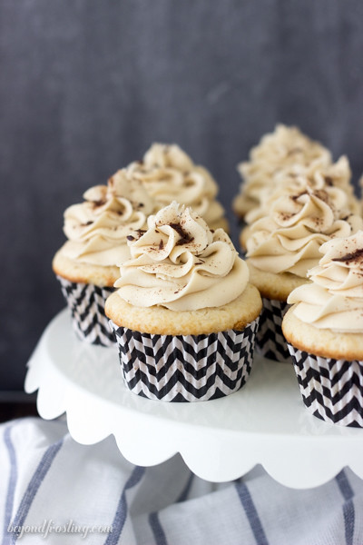 These Virgin Mudslide Cupcakes are flavored with Bailey's Mudslide Coffee Creamer. The fluffy vanilla cupcake is topped with a espresso mudslide frosting.