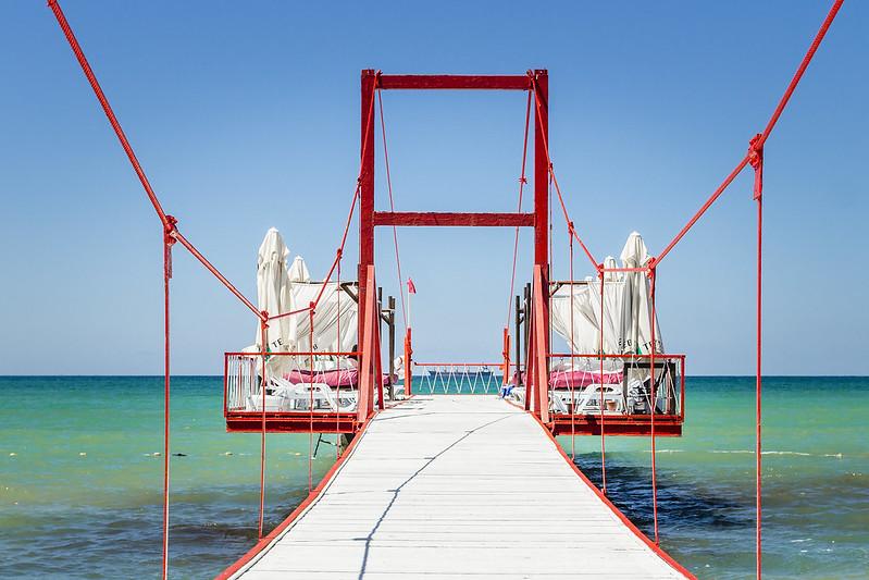 Relaxation platform on the beach - Black Sea, Kilyos, Turkey
