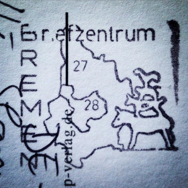 Bremen town musicians #postmark on #postcrossing #Postcard from Germany #showandmail