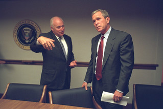 President Bush with Vice President Cheney in the President's Emergency Operations Center (PEOC)