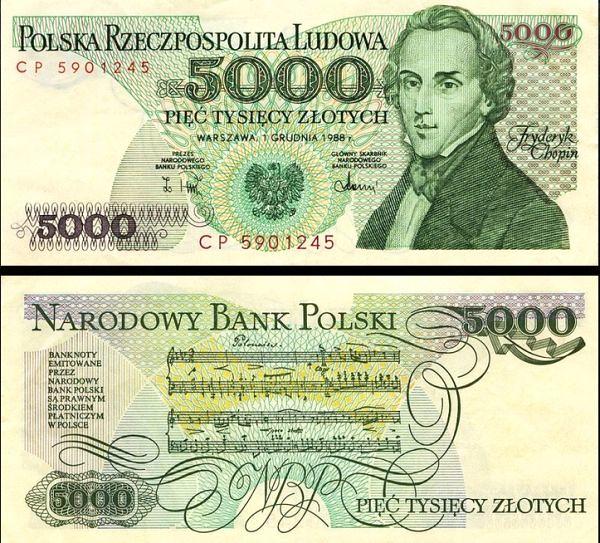 5000 Zlotých Poľsko 1988, Pick 150c