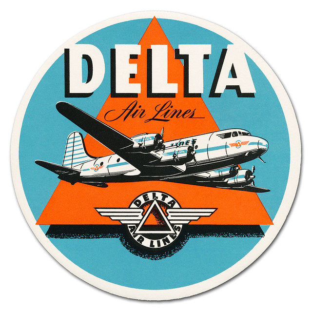 Delta Air Lines luggage label - date unknown