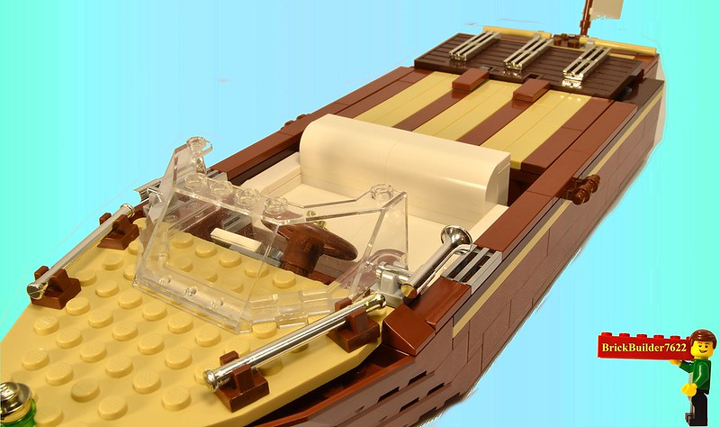 Teak wood motor boat a lego creation by john klapheke