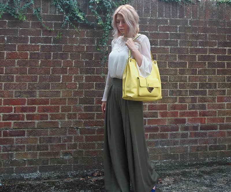 Green Wide Leg Trousers and Yellow Hobo Bag - Marks & Spencer