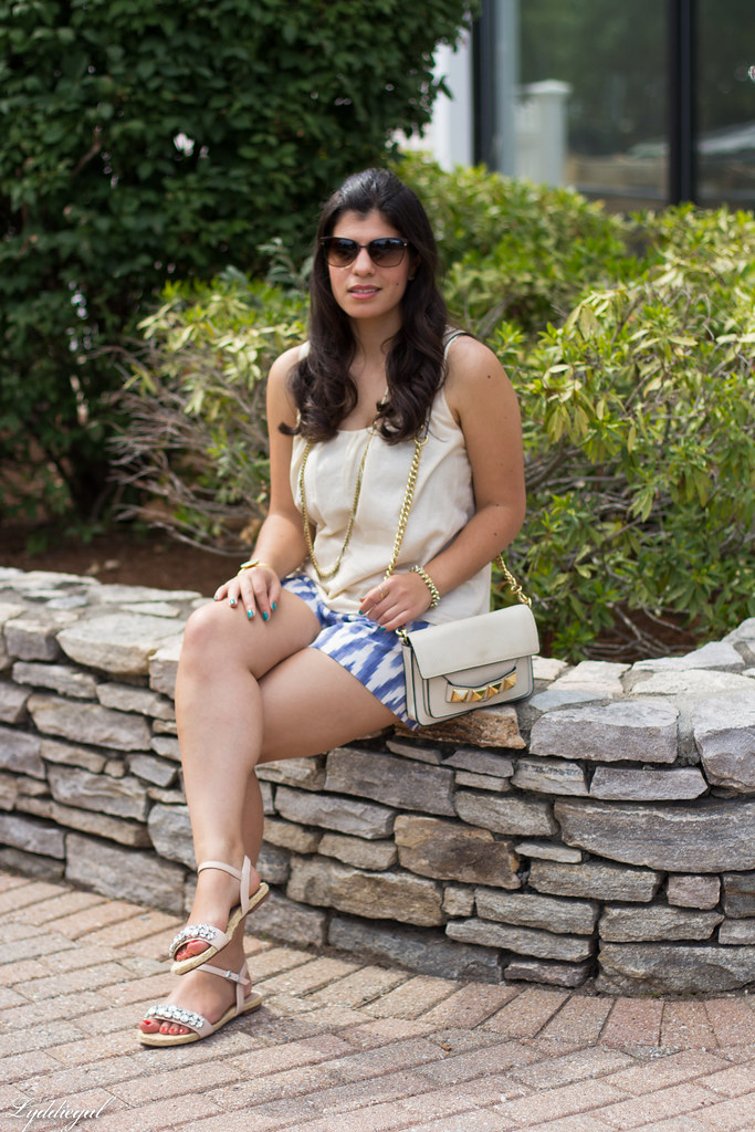 ikat print shorts, cream tank, jeweled sandals-4.jpg