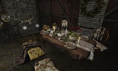 photogenic highly detailed table very natural wood with so many decorations! | dust bunny . autumns calling . wood table with tablecloth by lxlnoel