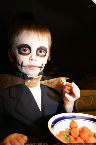 jack the pumpkin king and a bowl of candy pumpkins