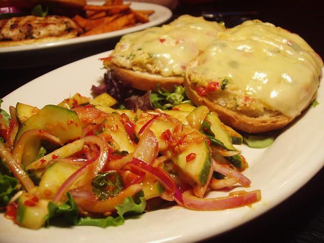 Crab Melt Sandwich w. Spicy Cucumber Salad