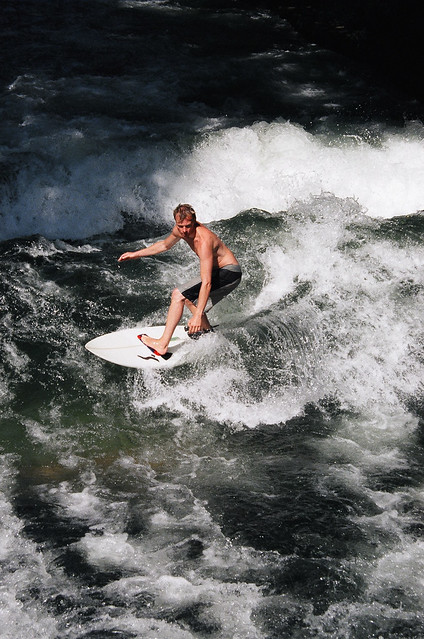 Surfing on the Isar in Munich