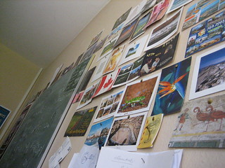 Wall full of postcards