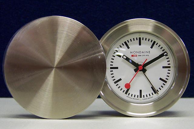 Clock Mondaine Travel Alarm Clock Stainless Steel By