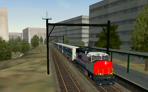 Simulation, MARC train in L'Enfant Plaza area, Washington, DC, by Steve Dunham