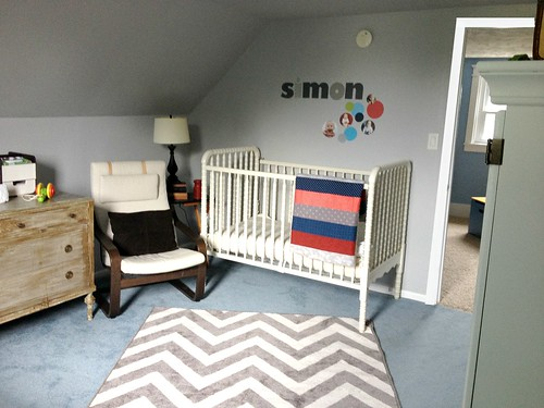 boy's crib in nursery