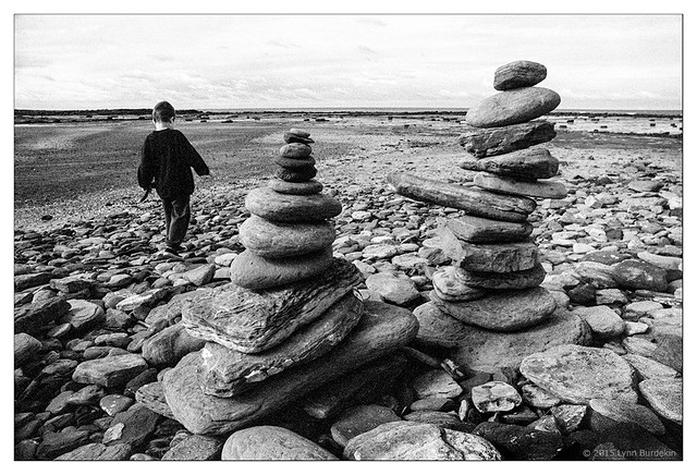 boy and stone cairns  #701