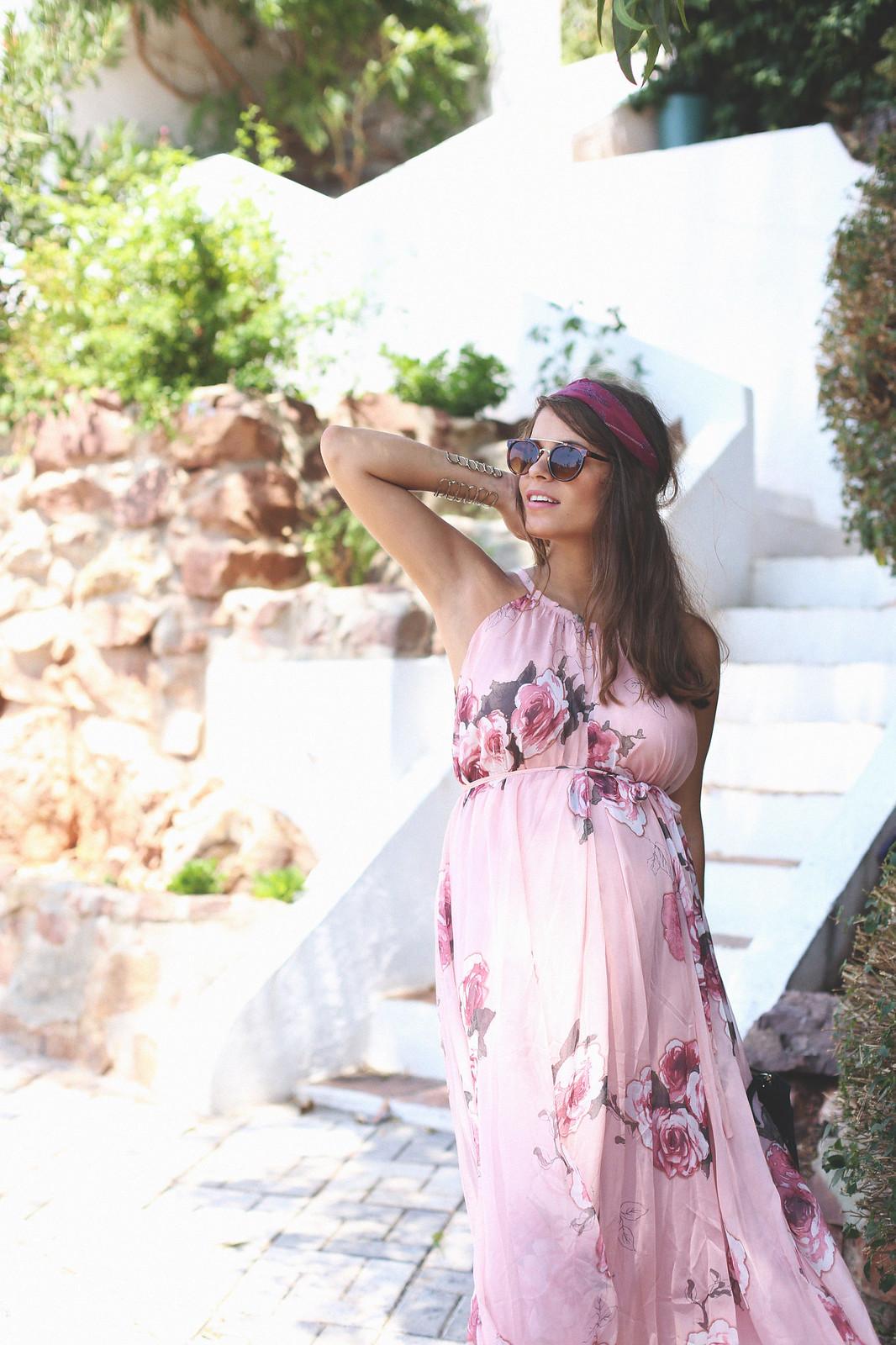 8. floral print long dress - jessie chanes - pregnancy