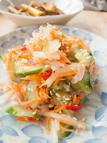 019 Salad : shredded apple , slices cucumber, shredded carrot, cut onion, red chilli and vineger
