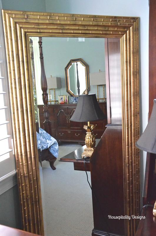 Master Bedroom Gold Mirror - Housepitality Designs