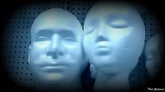 Heads in blue
