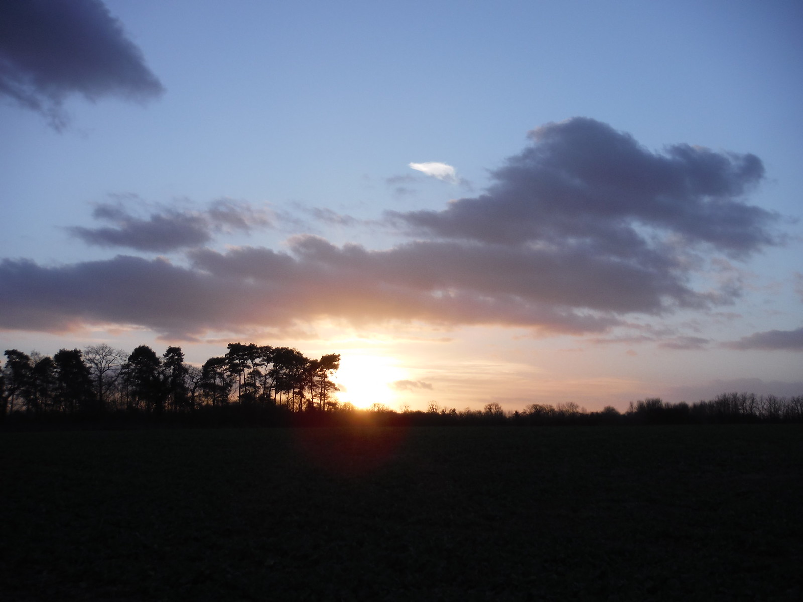 Sun Setting over Brimpton SWC Walk 34 Newbury Racecourse to Woolhampton (Midgham Station)