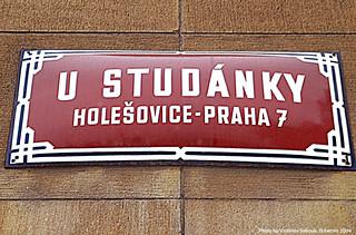 Praha 7/Prague/Prag cedule ulice U Studanky - Holesovice